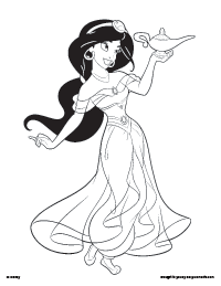 Jasmine and the Lamp Coloring Page